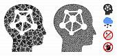 Human Neural Network Mosaic Of Joggly Pieces In Variable Sizes And Color Tinges, Based On Human Neur poster