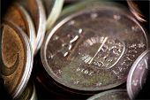 Euro Coins, Macro. Euro Currency On The Table. A Lot Of Coins Of A Few Euro Cents, Extreme Close Up. poster