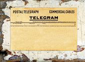 stock photo of telegram  - Blank telegram on grungy painted wood great for backgrounds - JPG