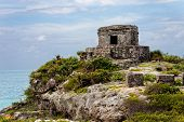 pic of gulf mexico  - Mayan temple in the ancient city of Tulum in Mexico outside of Cancun - JPG