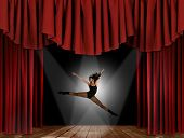 stock photo of ballet dancer  - Modern Jazz Street Dancer Jumping With Intentional Motion Blur - JPG