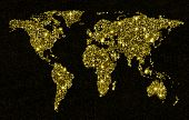 Gold glittering light world map. Sparkling world map