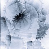 foto of mental_health  - Human head silhouette with focus on the brain - JPG