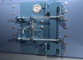 stock photo of bank vault  - Illustration of a very secure bank vault - JPG