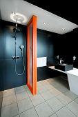 foto of lavabo  - Shower all in black with orange divider - JPG