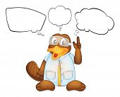 image of platypus  - Illustration of a wild animal with a goggle thinking on a white background - JPG