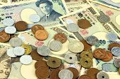 picture of japanese coin  - Various japanese yen bills and coins  - JPG