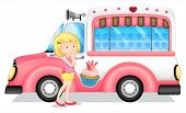 picture of ice-cream truck  - Illustration of a young girl beside the pink bus on a white background - JPG