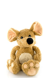 picture of stuffed animals  - stuffed mouse to play with isolated over white - JPG