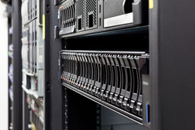 stock photo of supercomputer  - Network servers hdd in a data center - JPG