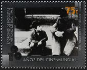 A stamp printed in Argentina dedicated to 100 years of world cinema