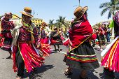 Indians Dancing In The Historic Centre Of Lima, Peru