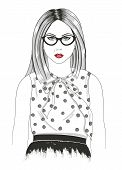 pic of gril  - Young girl fashion illustration - JPG
