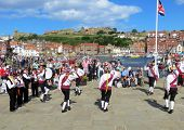 Whitby, North Yorkshire, UK August 18, 2013. Morris Dancers perform their dance at Whitby folk festi