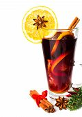 Red Hot Christmas Mulled Wine With Spices, Orange Slice, Anise And Cinnamon Sticks And Gingerbread C