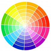 Standard color wheel isolated on white background vector illustration.