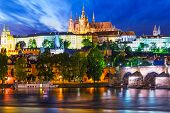 Night scenery of Prague, Czech Republic