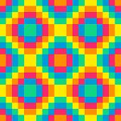 8-bit Seamless Rainbow Diamond Pattern Background Tile