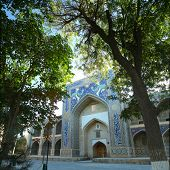 Oriental building with tile pattern in a green garden. Bukhara, Samarkand