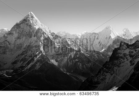 Himalaya mountains black and white poster