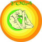foto of ashtanga vinyasa yoga  - Hand drawn illustration about the handsome yogi playing asanas positions - JPG