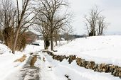 picture of battlefield  - A snowy road in Antietam battlefield bordered by a stone fence - JPG