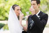 Newlywed couple drinking champagne in the park