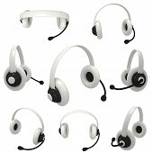set of different views of one white headset