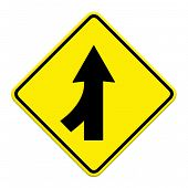 picture of merge  - Traffic sign Lanes Merging Left isolated on white background - JPG