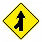 stock photo of merge  - Traffic sign Lanes Merging Left isolated on white background - JPG