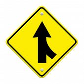 pic of merge  - Road Merge Sign isolated on white background - JPG