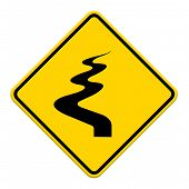 pic of veer  - Winding Road Ahead isolate on white background - JPG
