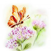 Painted watercolor card with summer flowers and butterfly