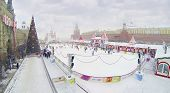 MOSCOW, RUSSIA - DEC 8, 2013: (aerial view) GUM-Skating rink on Red Square.