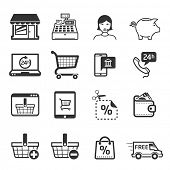 Shopping icons set 01 // BW