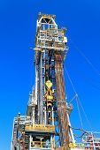 stock photo of derrick  - Derrick of Tender Drilling Oil Rig (Barge Oil Rig) on The Production Platform