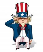 picture of uncle  - Vector Cartoon Illustration of Uncle Sam saluting - JPG