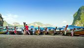 picture of james bond island  - Traditional Thai Longtail boats at James Bond Island Phang Nga Thailand - JPG