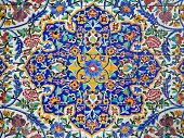 image of tehran  - Floral design on the tiled wall of an old mosque in Tehran Iran - JPG
