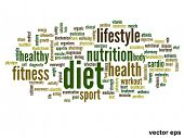 Vector eps concept or conceptual abstract diet and health word cloud or wordcloud on white backgroun