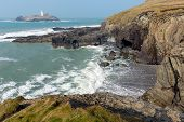 picture of st ives  - Godrevy lighthouse and island St Ives Bay Cornwall coast England UK facing the Atlantic Ocean and popular with surfers - JPG