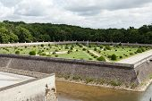 stock photo of poitiers  - Gardens at Chateau Chenonceau in the Loire Valley of France - JPG