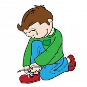 boy tying a shoelace cartoon doodle