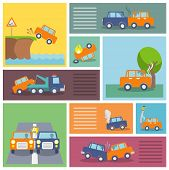 picture of flood-lights  - Colored decorative driving safety car security and auto crash protection  icons set isolated vector illustration - JPG