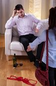 pic of adultery  - Wife suspecting her husband of betrayal vertical - JPG