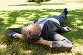 Full length of businessman lying on grass in park