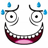 pic of transpiration  - A Vector Cute Cartoon White Sweaty Face - JPG