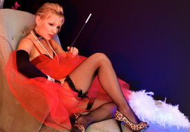 foto of streetwalkers  - full body view of beautiful blonde laying on chaise lounge - JPG