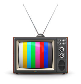 pic of tv sets  - Old retro color wooden home TV receiver set with antenna isolated on white background - JPG