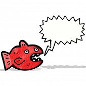 foto of piranha  - cartoon piranha with speech bubble - JPG
